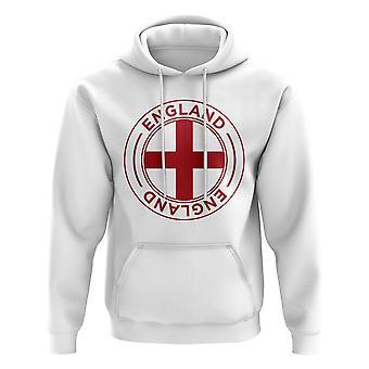Englands fotbollsmärke hoodie (vit)
