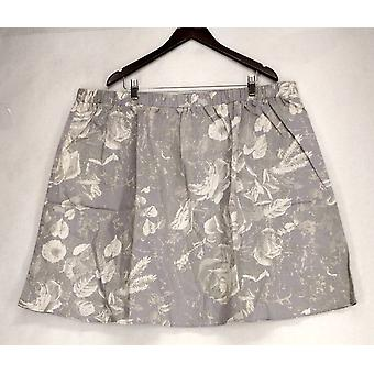 Isaac Mizrahi Live! Floral Printed Pull On Gray Skirt A201702