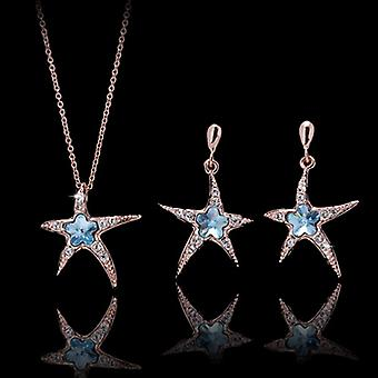 18K Gold Plated Blue Starfish Swiss Cubic Zirconia Set