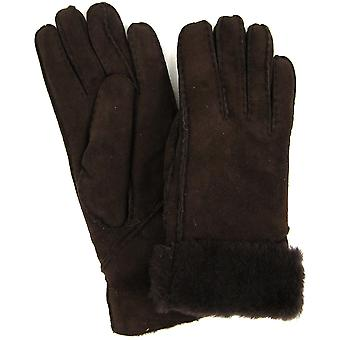 Snugrugs Ladies Genuine Sheepskin Gloves with Long Turn Back Cuff - Chocolate
