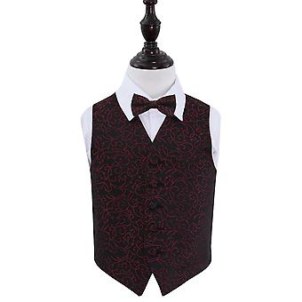 Boy's Black & Burgundy Swirl Patterned Wedding Waistcoat & Bow Tie Set