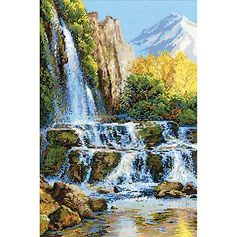 Landscape With Waterfall Counted Cross Stitch Kit-15.75