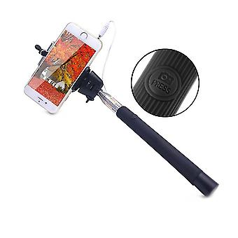 Wired Selfie Stick with Shutter Button - Black