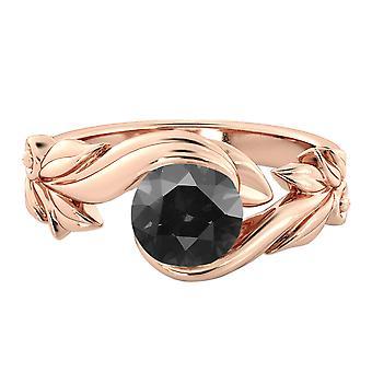 14K Rose Gold 1.50 CT Black Diamond Ring Flower Leaves Designer