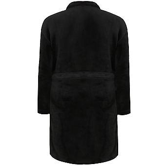 Bata de paño grueso y suave BadRhino negro con lazo de la cintura