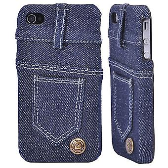 Leather covered with blue jeans (blue)-iPhone 4/4S
