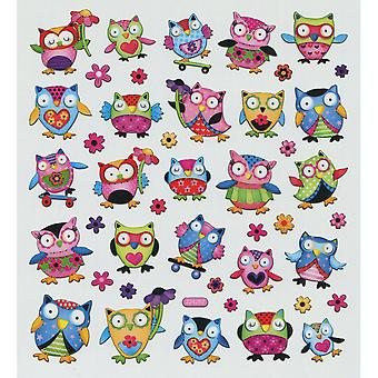 Multicolored Stickers-Owls With Flowers & Hearts SK129MC-4299