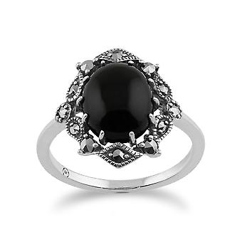 925 Sterling Silber Kunst Nouveau Onyx & Markasit Ring