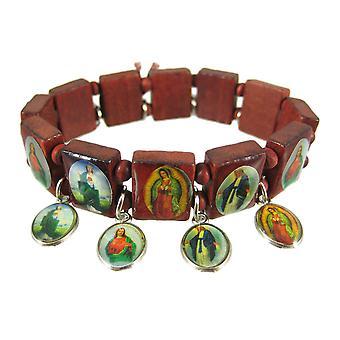 Red Wooden Bead Dangling Christian Charm Bracelet