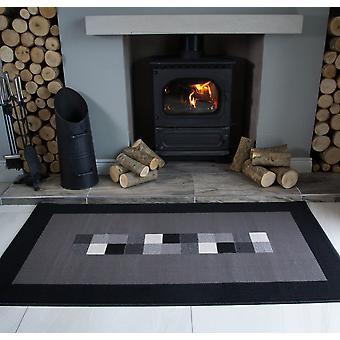 Borderd zwarte & grijs Modern tapijt-Milaan