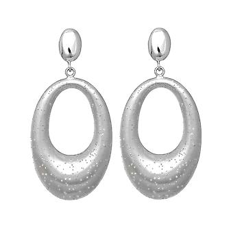 Sterling Silver Rhodium Plated With Brushed Diamond Dust Finish Oval Drop Earrings