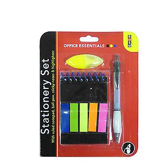 Postit Note Stationery Set With Pen, Pad, Sticky Notes & Highlighter
