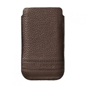 SAMSONITE CLASSIC Mobile bag leather L Brown to tex S2