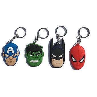 Marvel Avengers | Spiderman Batman Hulk Captain America | Porte-clés Set de 4