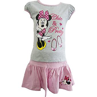 Girls Disney Minnie Mouse Summer T-Shirt & Skirt Set