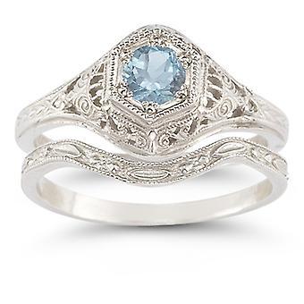 Enchanted Aquamarine Bridal Set in .925 Sterling Silver