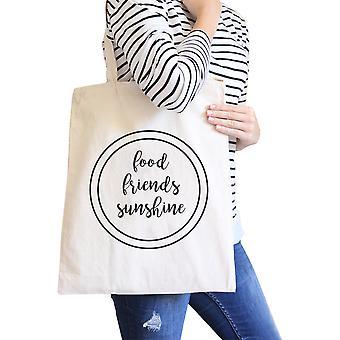 Alimentos amigos lienzo Natural gráfico lindo sol bolsa algodón pesado