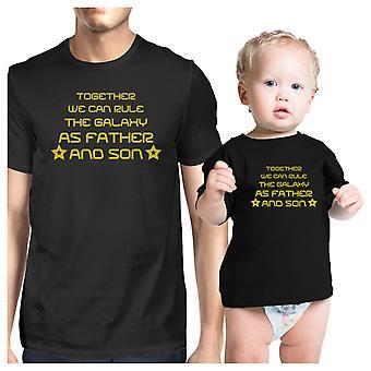 We sluiten de Melkweg als vader en zoon bijpassende grafische katoenen Shirts