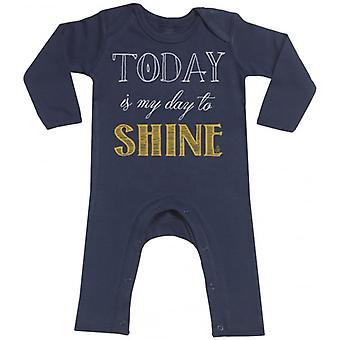 Spoilt Rotten Today I Will Shine Navy Baby Footless Romper