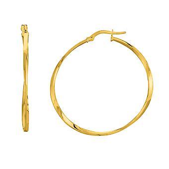 14K Yellow Gold Shiny Squaretube Twisted Hoop Earrings, Diameter 40mm