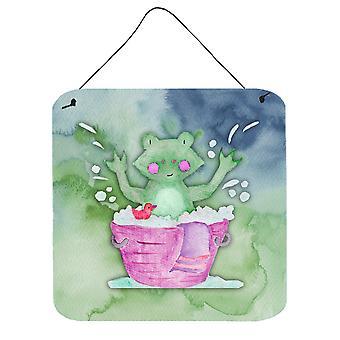 Frog Bathing Watercolor Wall or Door Hanging Prints
