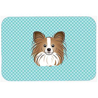 Checkerboard Blue Papillon Mouse Pad, Hot Pad or Trivet