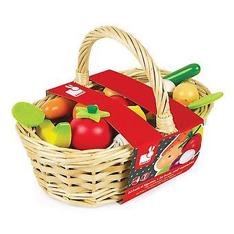 Janod 24 Stück Holz Obst und Gemüse Korb 3-8 ys