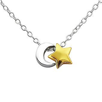 Moon og stjerne - 925 Sterling Sølv Plain halskæder - W21918X