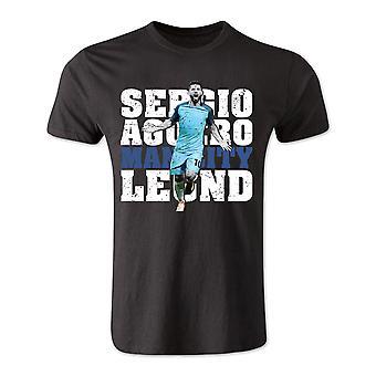 Sergio Aguero Manchester City Legende T-Shirt (schwarz) - Kinder