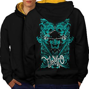 Electro Katana Music Men Black (Gold Hood)Contrast Hoodie Back | Wellcoda