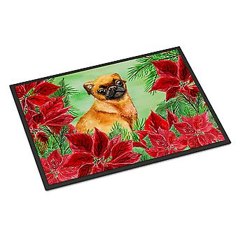 Small Brabant Griffon Poinsettas Indoor or Outdoor Mat 18x27