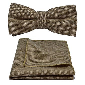 Highland Weave Stonewashed Light Brown Bow Tie & Pocket Square Set