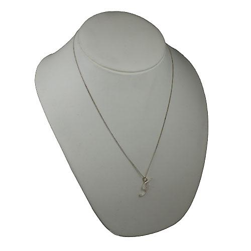 Silver 28x11mm plain Initial F Pendant with a curb Chain 22 inches