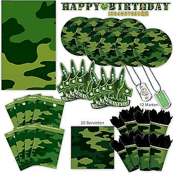 Military camouflage party set XL 74-teilig for 8 guests NATO soldiers decoration party package