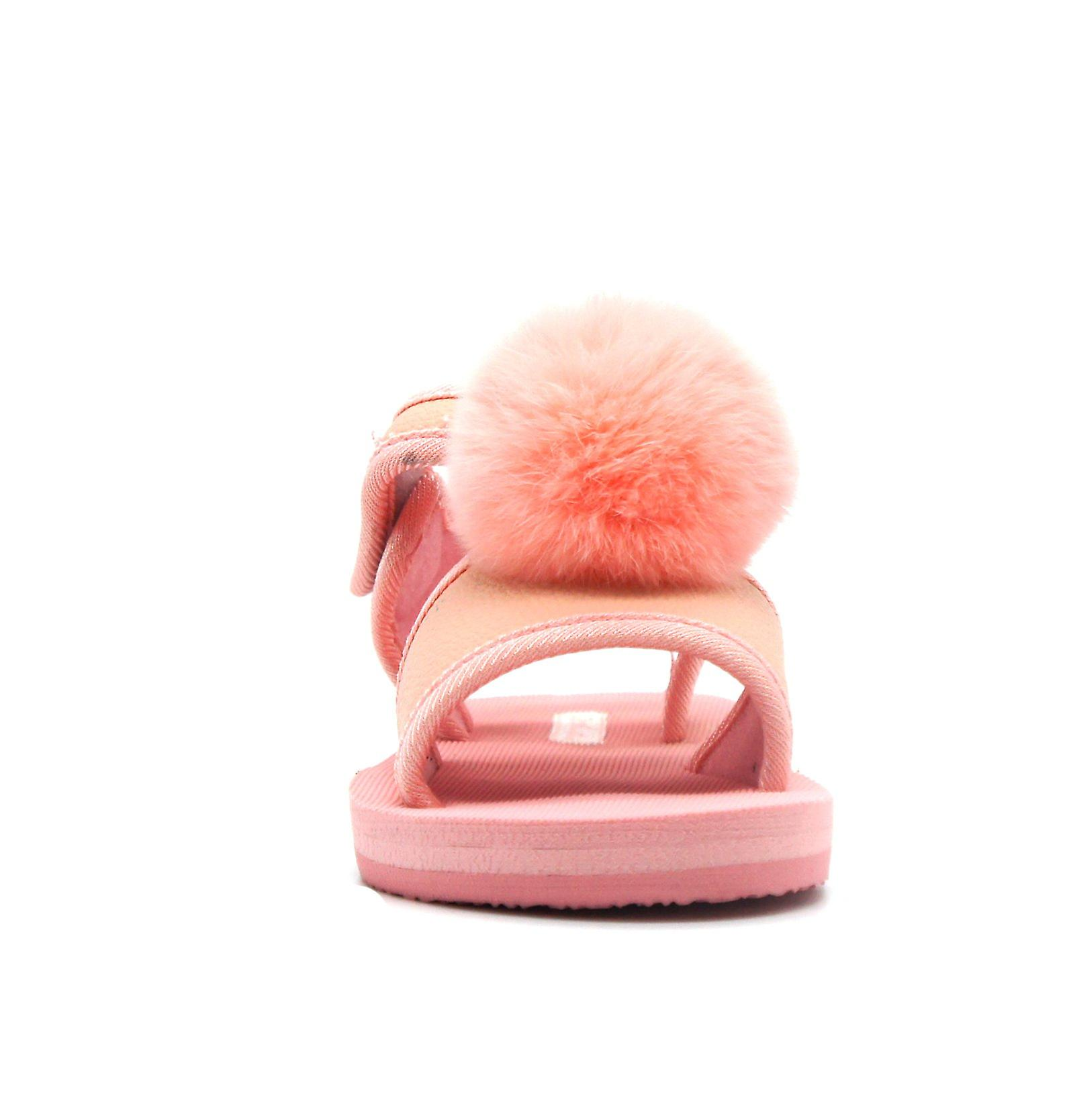 Atlantis Shoes Kids Girls Supportive Cushioned Comfortable Sandals Fluffy Baby Pink