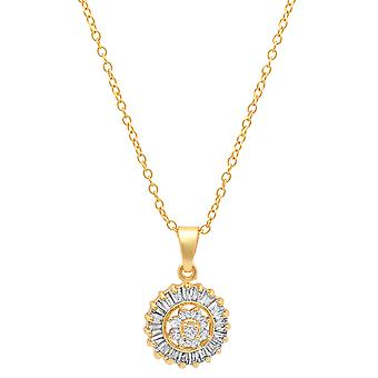 Ladies 18K Gold Plated Brass Simulated Diamond Flower Center Pendant