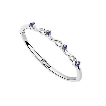 Austrian Crystal Bracelet Bangle With Purple Coloured Stones