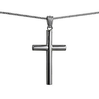 Silver 40x25x4mm handmade plain Memorial Cross with a curb Chain 24 inches