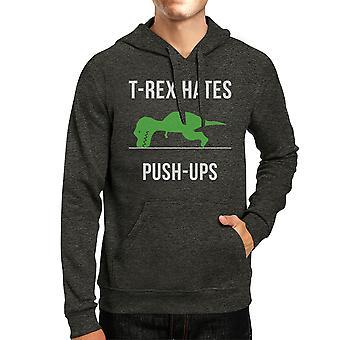 T-Rex Push Ups Mens/Unisex Cool Grey Pullover chandail à capuchon