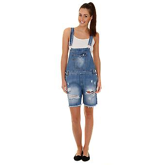 Relaxed Fit Dungaree Shorts - Destroyed Denim Ladies Bib Overall Shorts Shortall