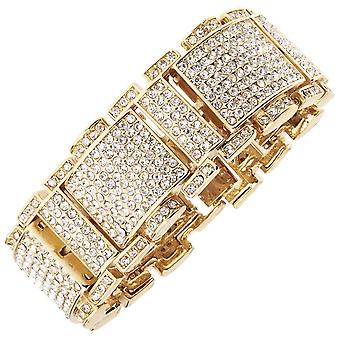 Iced out bling hip hop bracelet wristband - RICK ROSS gold
