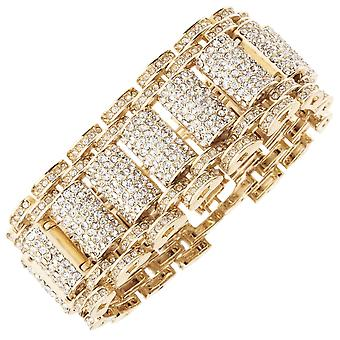 Iced out bling hip hop bracelet wristband - KING gold