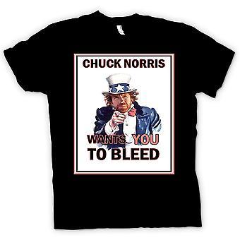 Mens T-shirt-Chuck Norris will Sie bluten