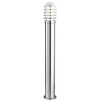 Louvre Outdoor -1 Light Post (height 90cm), Stainless Steel, White Shade