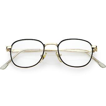 Kwadrat Metal true Vintage okulary Slim Metal broni 46mm