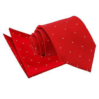 Dunkel rot Pin Dot Krawatte & Einstecktuch Satz