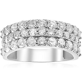 1 3/4ct Diamond Wedding Triple Row Ring 14K White Gold