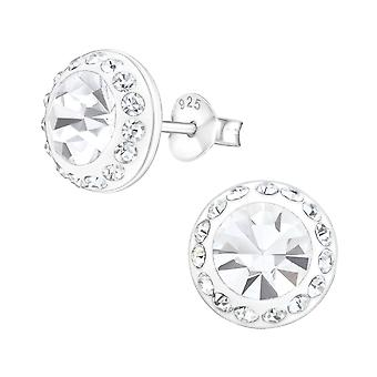Round - 925 Sterling Silver Crystal Ear Studs - W22128X
