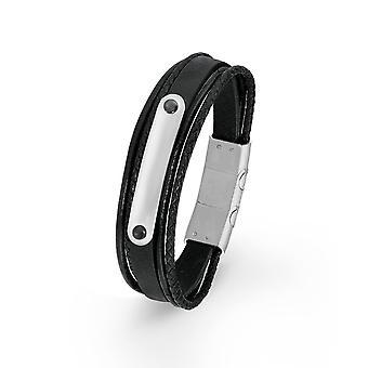 s.Oliver jewel mens bracelet ID stainless steel leather black 2015063