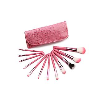 12 Make Up  Brushes Set - Animal and Nylon Hair Aluminium Ferrule Natural Wood Handle Pink PU Crocodile Bag
